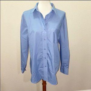 Foxcroft Oxford Blue Button Down Shirt Size 16